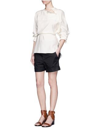 Figure View - Click To Enlarge - Isabel Marant - Sash tie asymmetric silk shirt top