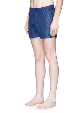 Figure View - Click To Enlarge - DANWARD - Solid flat front elastic back swim shorts