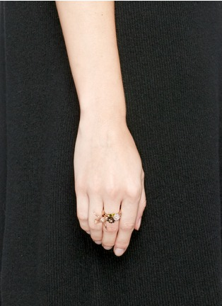 Figure View - Click To Enlarge - Anabela Chan - Diamond pavé mother of pearl mini swallow ring