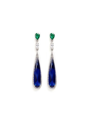 Main View - Click To Enlarge - Anabela Chan - 'Shard' diamond pavé sapphire drop earrings
