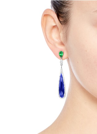 Figure View - Click To Enlarge - Anabela Chan - 'Shard' diamond pavé sapphire drop earrings