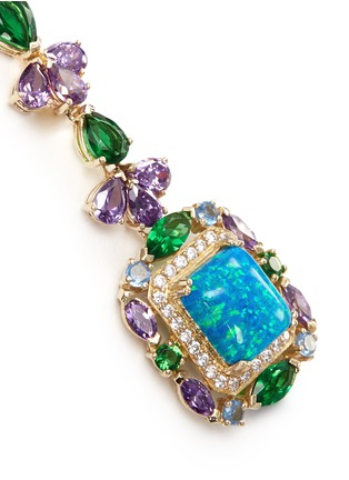 Detail View - Click To Enlarge - Anabela Chan - 'Opals Deco' diamond pavé gemstone drop earrings