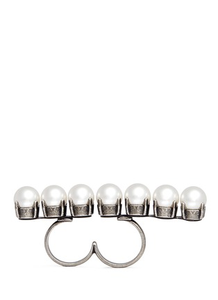Main View - Click To Enlarge - Lanvin - Glass pearl two finger ring