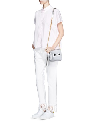 Figure View - Click To Enlarge - Anya Hindmarch - 'Eyes' embossed metallic leather crossbody bag