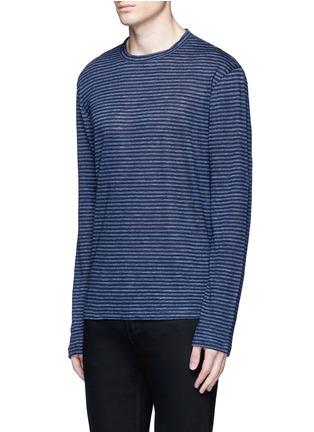 Front View - Click To Enlarge - T By Alexander Wang - Stripe linen T-shirt