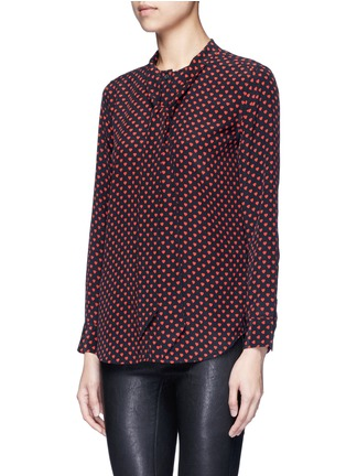 Front View - Click To Enlarge - EQUIPMENT - x Kate Moss 'Collarless Slim Signature' heart print silk shirt