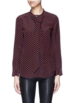 Main View - Click To Enlarge - Equipment - x Kate Moss 'Collarless Slim Signature' heart print silk shirt