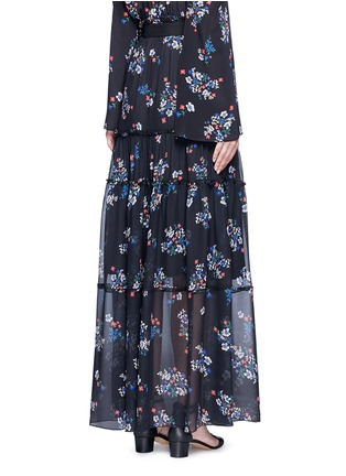 Back View - Click To Enlarge - 72723 - 'Posie' floral print tiered silk maxi skirt