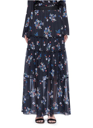 Main View - Click To Enlarge - 72723 - 'Posie' floral print tiered silk maxi skirt