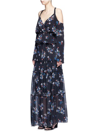 Figure View - Click To Enlarge - Nicholas - 'Posie' floral print tiered silk maxi skirt
