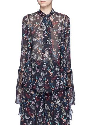 Main View - Click To Enlarge - Nicholas - Garden floral print batwing silk shirt