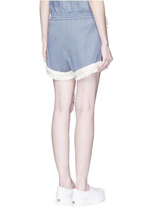 Back View - Click To Enlarge - Nicholas - Frayed trim pinstripe drawstring shorts