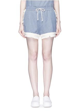 Main View - Click To Enlarge - Nicholas - Frayed trim pinstripe drawstring shorts