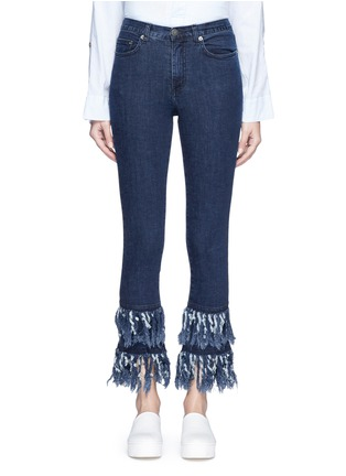 Detail View - Click To Enlarge - Nicholas - Frayed cuff flare jeans