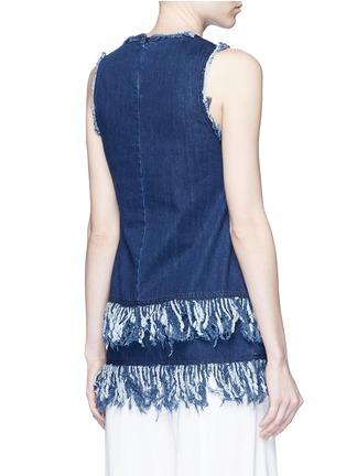 Back View - Click To Enlarge - 72723 - Frayed fringe cotton denim tunic
