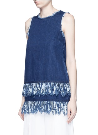 Front View - Click To Enlarge - 72723 - Frayed fringe cotton denim tunic
