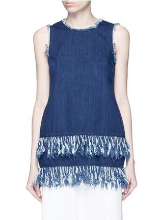 Main View - Click To Enlarge - 72723 - Frayed fringe cotton denim tunic