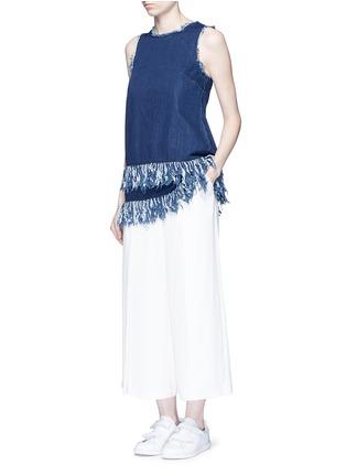 Figure View - Click To Enlarge - 72723 - Frayed fringe cotton denim tunic