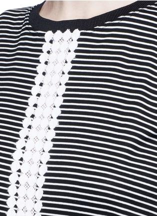 Detail View - Click To Enlarge - 72723 - Dot guipure lace stripe drop waist dress