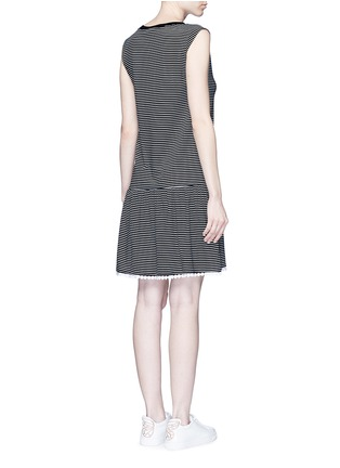 Back View - Click To Enlarge - 72723 - Dot guipure lace stripe drop waist dress