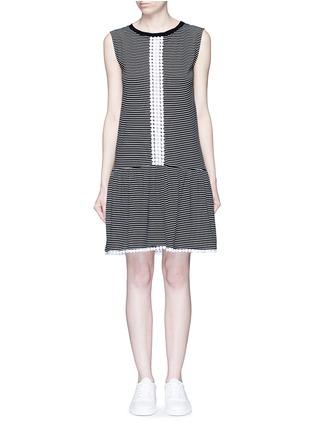 Main View - Click To Enlarge - 72723 - Dot guipure lace stripe drop waist dress