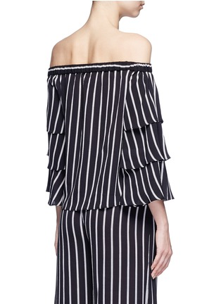 Back View - Click To Enlarge - 72723 - Stripe tiered sleeve off-shoulder top