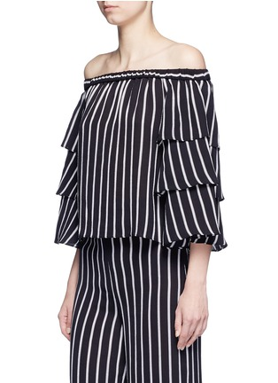 Front View - Click To Enlarge - 72723 - Stripe tiered sleeve off-shoulder top