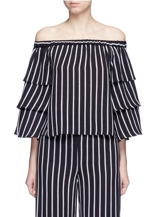 Main View - Click To Enlarge - 72723 - Stripe tiered sleeve off-shoulder top