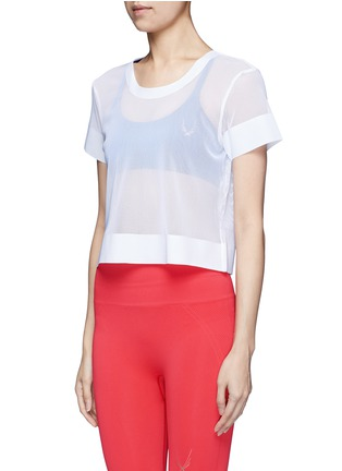 Front View - Click To Enlarge - Lucas Hugh - Cropped mesh T-shirt