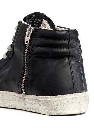 Detail View - Click To Enlarge - Golden Goose - 'Slide' stud smudged leather high top sneakers
