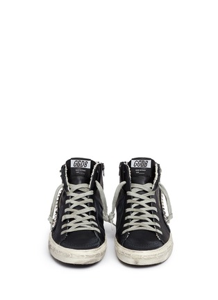 Front View - Click To Enlarge - Golden Goose - 'Slide' stud smudged leather high top sneakers