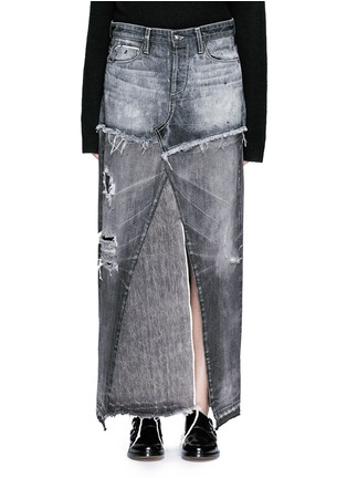 Main View - Click To Enlarge - Tortoise - Distressed patchwork denim maxi skirt