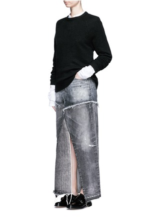 Figure View - Click To Enlarge - Tortoise - Distressed patchwork denim maxi skirt
