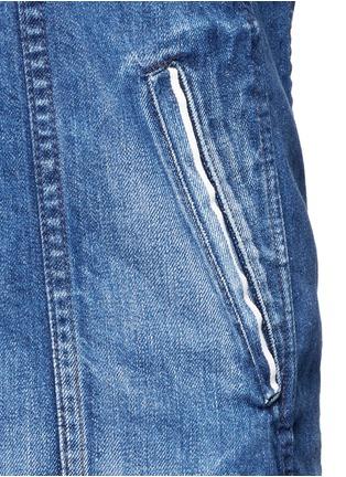 Detail View - Click To Enlarge - Tortoise Denim - Asymmetric button back denim patchwork shirt dress
