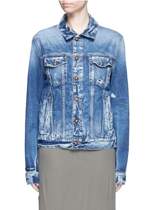 Main View - Click To Enlarge - Tortoise Denim - Oriental embroidery distressed denim jacket