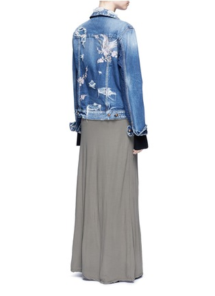 Figure View - Click To Enlarge - Tortoise Denim - Oriental embroidery distressed denim jacket