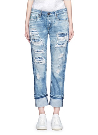 Detail View - Click To Enlarge - 72877 - Distressed knit repair foldup cuff straight jeans