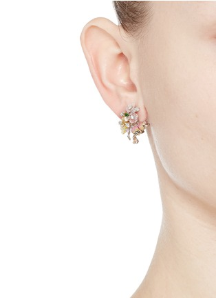 Figure View - Click To Enlarge - Anabela Chan - 'Bouquet' diamond mother of pearl stud earrings