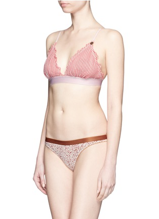 Figure View - Click To Enlarge - Love Stories - 'Reggipetto' candy stripe ruffle elastic bralette