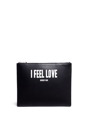 Main View - Click To Enlarge - Givenchy - 'I Feel Love' print iconic leather zip pouch