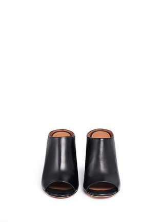 Front View - Click To Enlarge - GIVENCHY - '9 Edgy' wooden heel open toe leather mules
