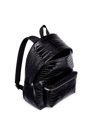 Detail View - Click To Enlarge - SAINT LAURENT - 'Classic Hunting' croc embossed leather backpack