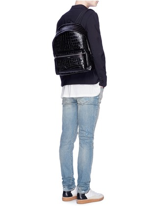 Figure View - Click To Enlarge - SAINT LAURENT - 'Classic Hunting' croc embossed leather backpack