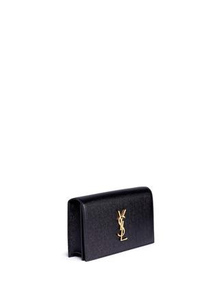 Front View - Click To Enlarge - SAINT LAURENT - 'Monogram' grainy leather flap clutch