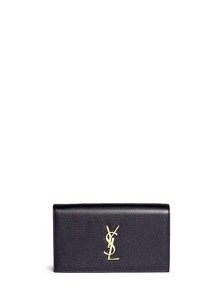 Main View - Click To Enlarge - SAINT LAURENT - 'Monogram' grainy leather flap clutch