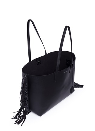 Detail View - Click To Enlarge - SAINT LAURENT - Large fringe leather tote