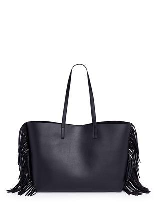 Back View - Click To Enlarge - SAINT LAURENT - Large fringe leather tote