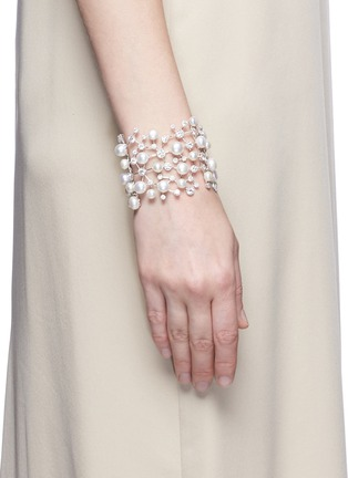 Figure View - Click To Enlarge - Anabela Chan - 'Constellation' diamond pearl 18k white gold plated silver bracelet