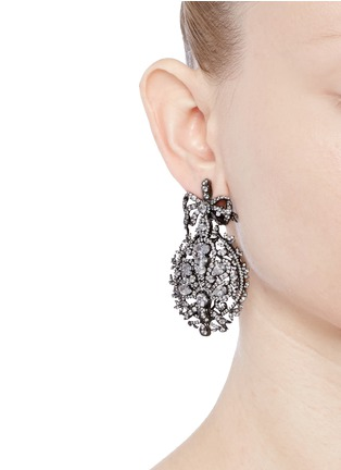 Figure View - Click To Enlarge - Anabela Chan - 'Mirage' diamond 18k black gold plated silver drop earrings