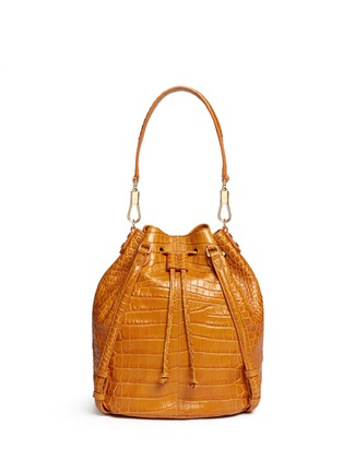 Back View - Click To Enlarge - Elizabeth and James - 'Cynnie Sling' croc effect leather bucket bag